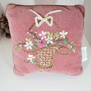 Brand New Pink Soft Pillow with Floral Basket